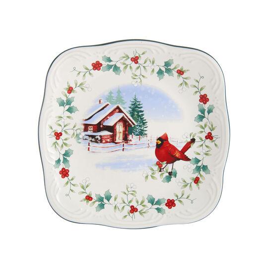 Square Cardinal Salad Plate