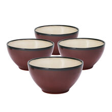 Set of 4 Red Soup Cereal Bowls
