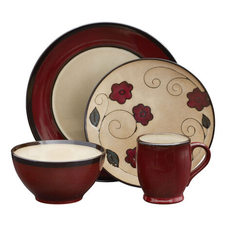 Round Red Leaves 32 Piece Dinnerware Set