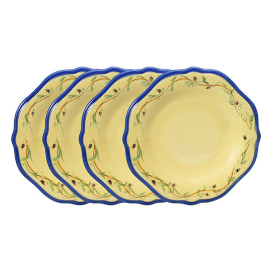 Set of 4 Salad Plates with Blue Band