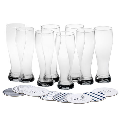 Set of 8 Wheat Beer Glasses with Coasters