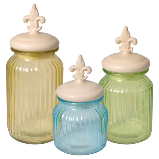 Set of 3 Glass Canisters with Ceramic Lids
