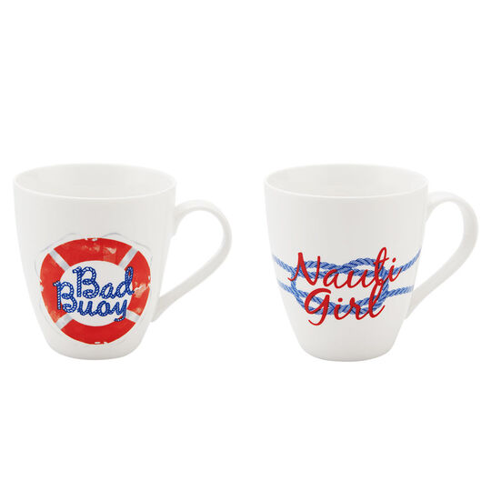 Set of 2 Bad Buoy And Nauti Girl Mugs