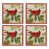 Set of 4 Holiday Cardinal Glass Coasters