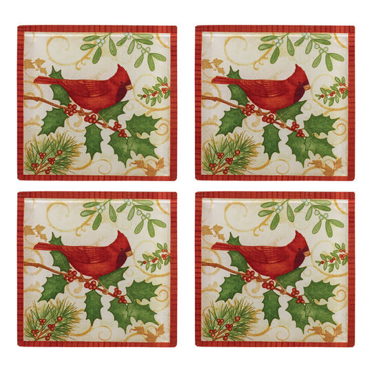 Set of 4 Holiday Cardinal Glass Coasters