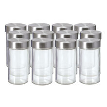 Set of 12 Glass Spice Jars with Stainless Steel Caps