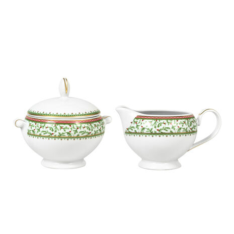 Covered Sugar Bowl and Creamer Set