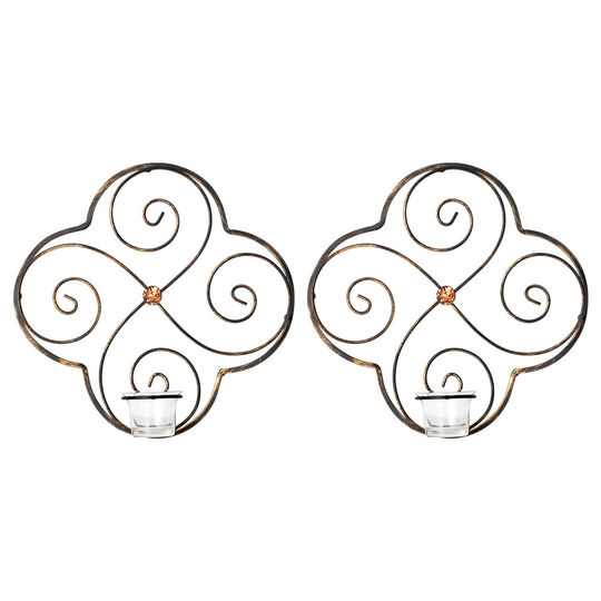 Set of 2 Metal Amber Gem Tealite Sconces