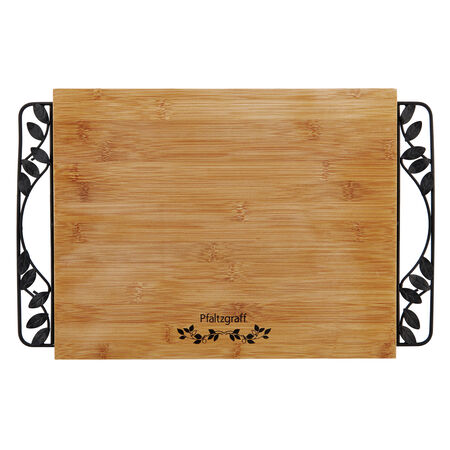 Bamboo Cutting Board with Metal Handles