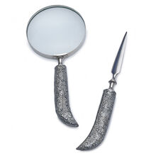 Silver Scroll Letter Opener and Magnifying Glass Set