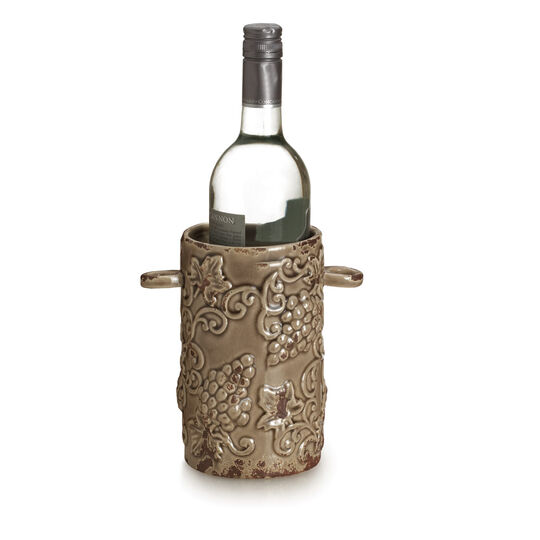 Rustic Brown Grapes Ceramic Wine Holder