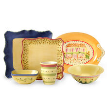 32 Piece Square Dinnerware Set With Serveware