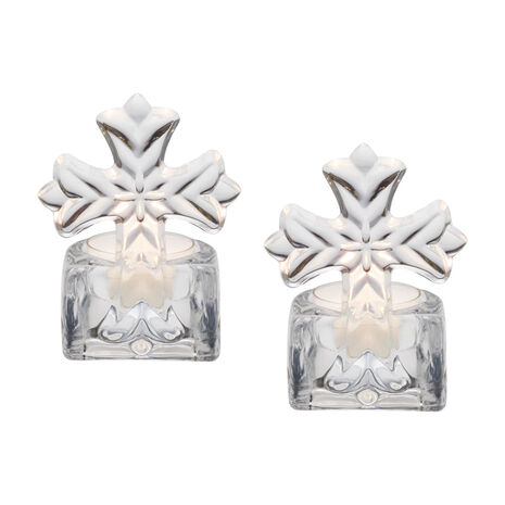 Set of 2 Glass Cross Tealight Holders