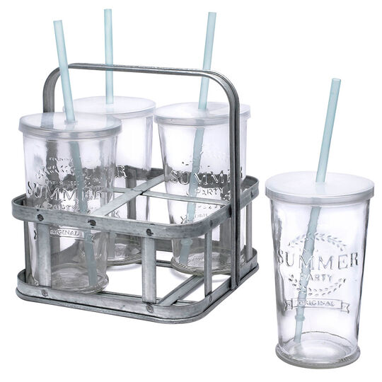 12 Piece Summer Beverage Set with Metal Caddy