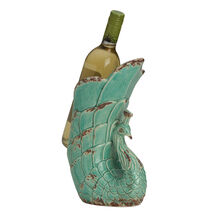 Rustic Teal Ceramic Peacock Wine Holder