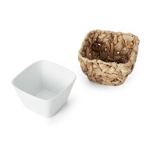 Square Bowl With Nesting Decorative Basket