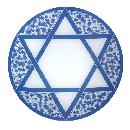 Hanukkah Round Glass Platter