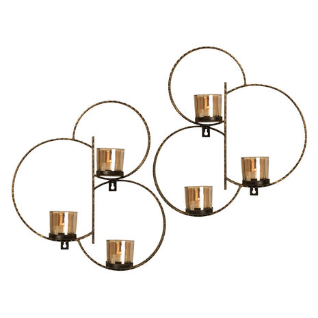 Set of 2 Hammered Circles Sconces