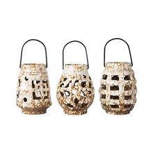 Set of 3 Cream Ceramic Tealight Lanterns