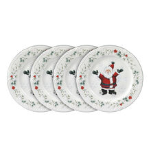 Set of 4 Jolly Santa Salad Plates