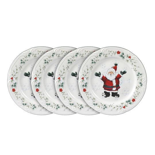 Set of 4 Jolly Santa Salad Plates