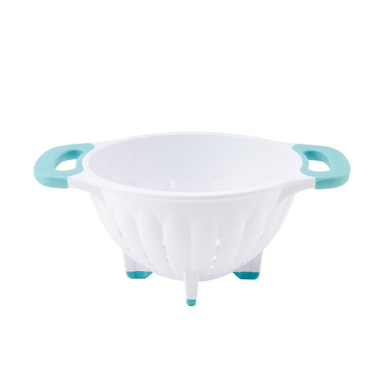 1-1/2 Quart White Colander with Aqua Sky Accents
