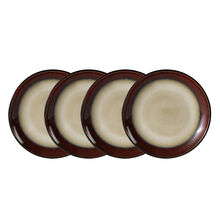 Set of 4 Red Round Appetizer Plates
