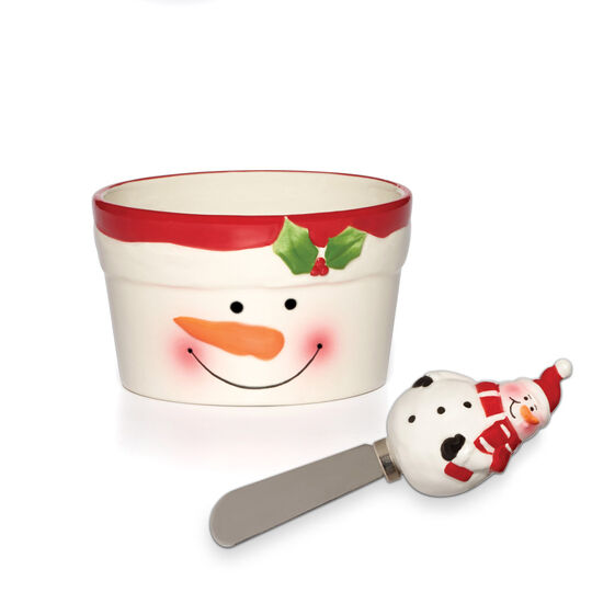 Holiday Snowman Dip Bowl And Spreader