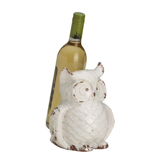 Rustic White Ceramic Owl Wine Holder