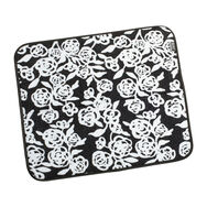 Garden Rose Black And White 16 x 18 Inch Reversible Dish Drying Mat