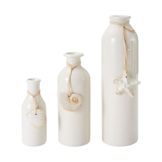 Set of 3 Cream Ceramic Bottle Vase with Shell