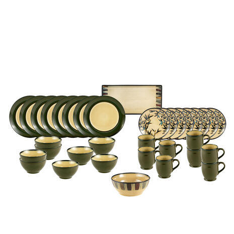 Round Green Stalks Service for 8 with Serveware
