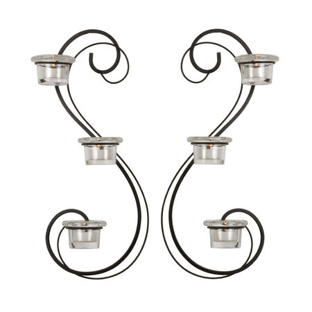 Set of 2 Three Light Double Swirl Sconces