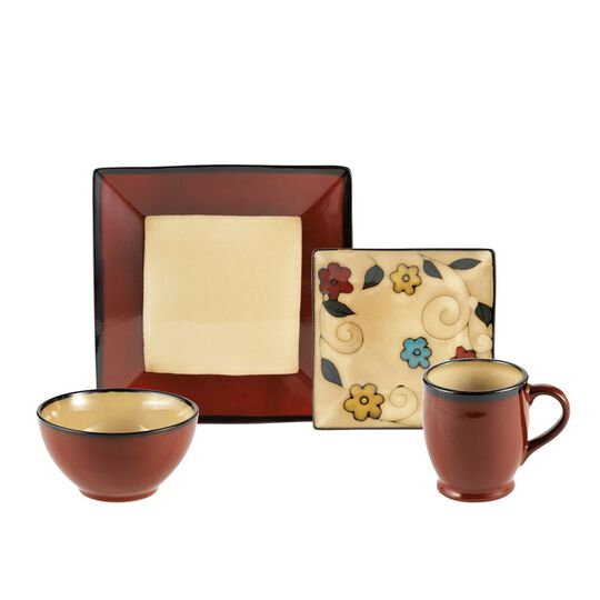 Square Red Flowers 48 Piece Dinnerware Set