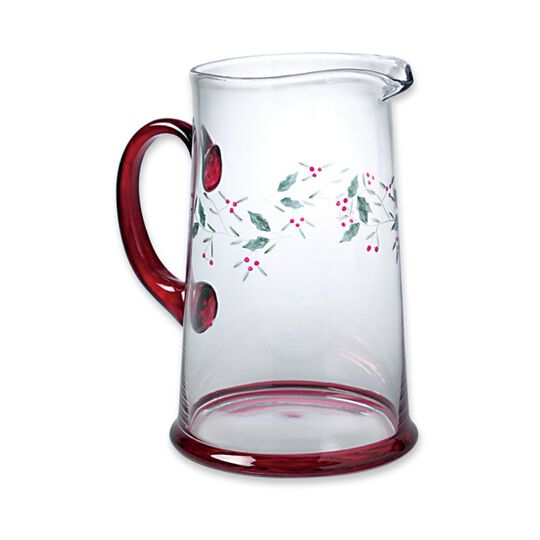 Etched Glass Water Pitcher