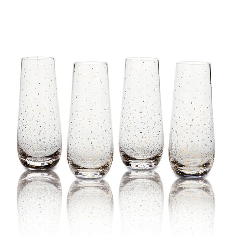 Set of 4 Dots Gold Stemless Flute Glasses