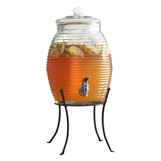 Ribbed Glass Beverage Dispenser with Metal Stand
