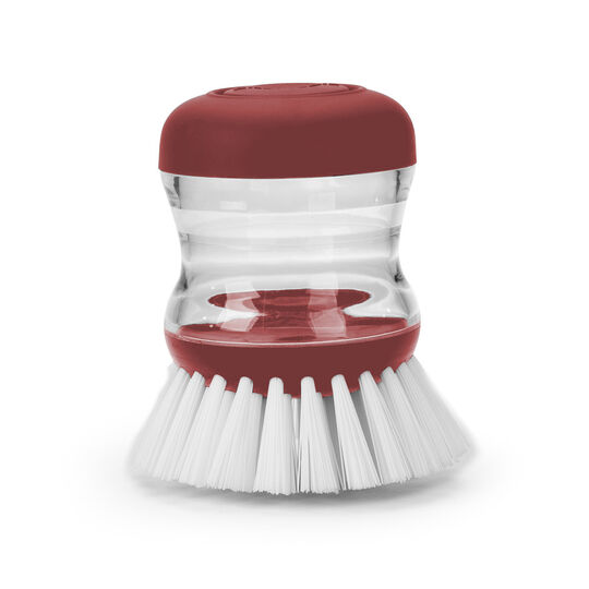 Red Soap Dispensing Palm Brush