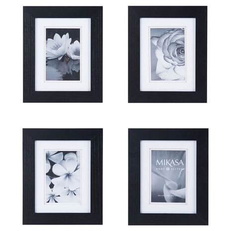 Set of 4 4 x 6 Black Wood Frames