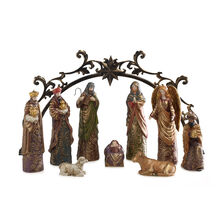 10 Piece Gold Accent Nativity Set