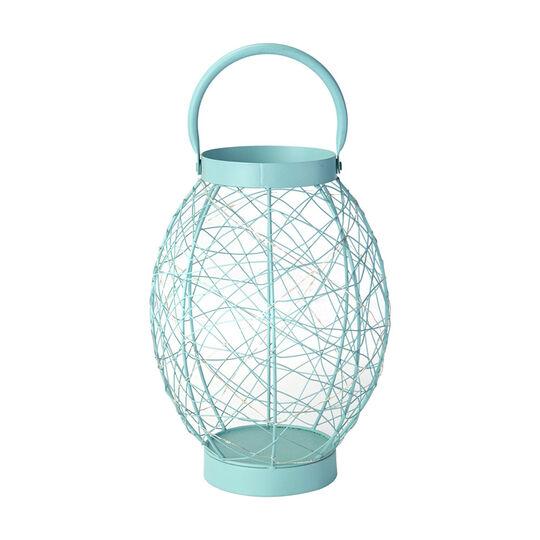 12 Inch Aqua Oval LED String Lantern