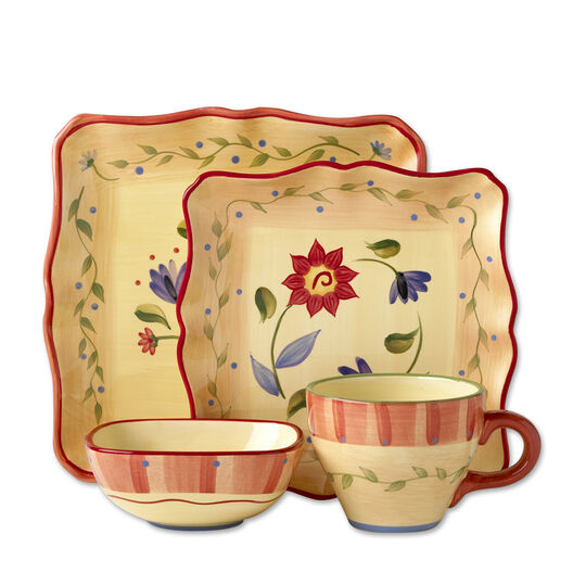 pfaltzgraff napoli 16 piece square dinnerware set