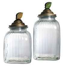 Set of 2 Glass Canister Set W/Resin Lid