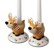 Set of 2 Reindeer Candlesticks