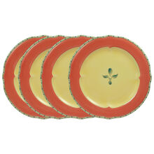 Set of 4 Dinner Plates with Red Band
