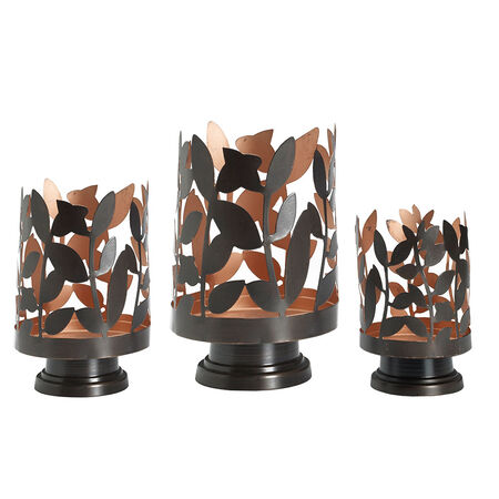 Set of 3 Metal Leaf Luminaries