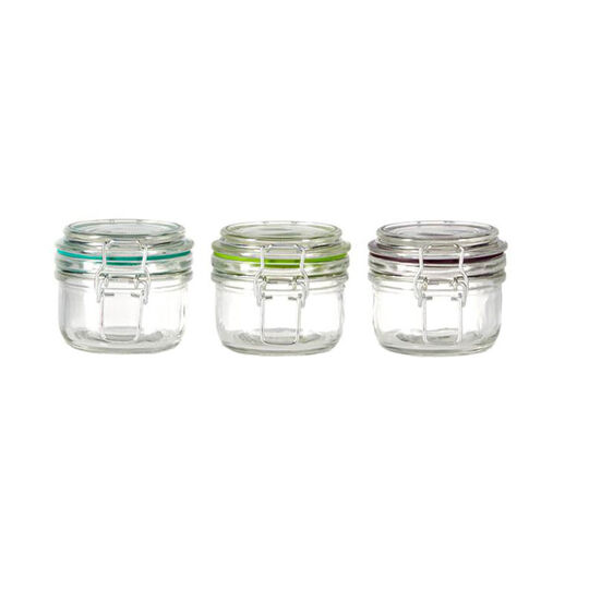Set of 3 Glass 4.25 Ounce Jar with Clamp Lid