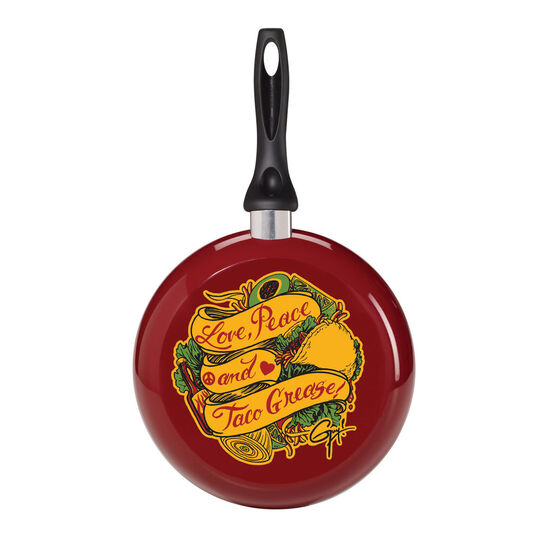 9.5 Inch Decorated Fry Pan with Taco Grease