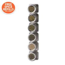 6 Jar Magnetic Canister Spice Rack