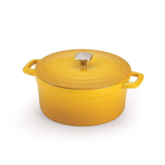 5.5 Quart Yellow Cast Iron Dutch Oven